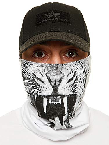 Code47 Gezichtsbescherming, halsdoek, bedrukt, biker, sjaal, ski, motor, gezichtsmasker, mond, neus, masker Eén maat Wit 3666