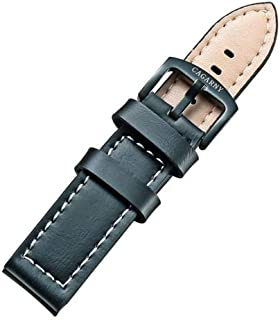 Lanbinxiang@ Simple and Stylish Green Watch with Buckle Leather Strap, Width: 22 mm Fashion (Color : Green)