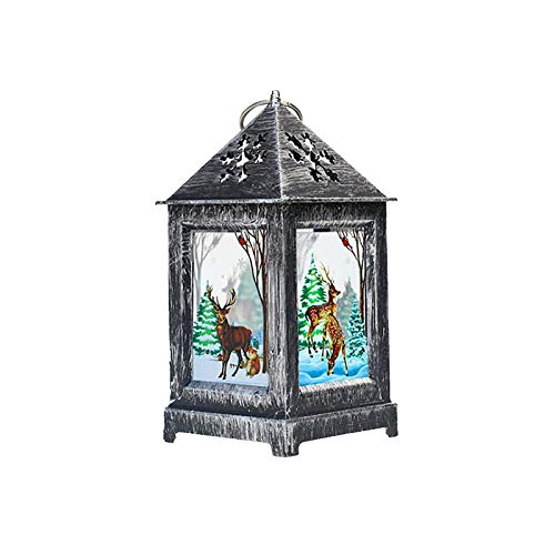Christmas Snow Wish Music Box Wind lamp Ornament Portable lamp Setting Props, Home Decor, for Christmas Day (D)