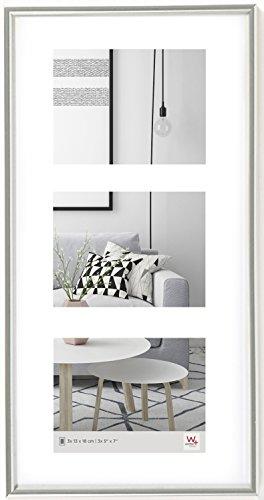 walther design KS338S Galeria Kunststoffrahmen -Galerie 3 Bilder, 3 (13 x 18 cm), silber