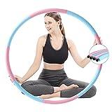 Aro de hula hoop para adultos, núcleo de acero inoxidable, para perder peso y moldear, 8 segmentos se pueden separar y rellenar, pesas ajustables para fitness / deporte / forma abdominal