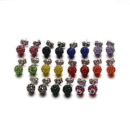 UNICRAFTALE 10 Pares de Aretes de Bola de Diamantes de Imitación de Arcilla Polimérica con Hallazgos de Aretes de Acero Inoxidable Pendientes de Oreja de Color Mixto para Mujeres Joyas 8 mm