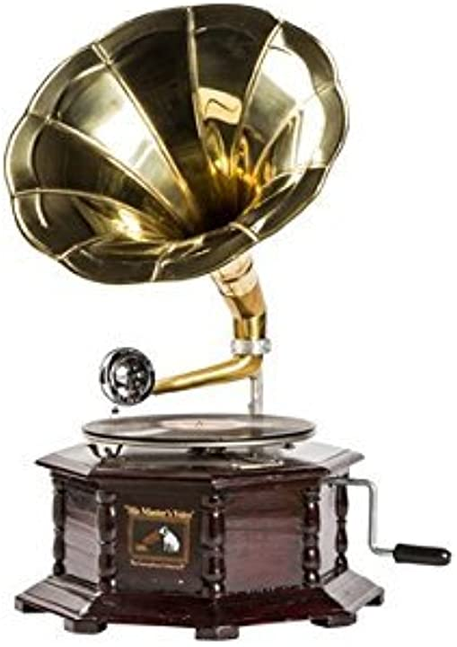 Grammofono con tromba in ottone his master`s voice riproduzione ottagonale arterameferro B07C1J2Q1N
