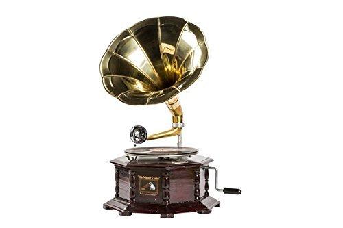 Grammofono con tromba in ottone HIS MASTER'S VOICE riproduzione OTTAGONALE