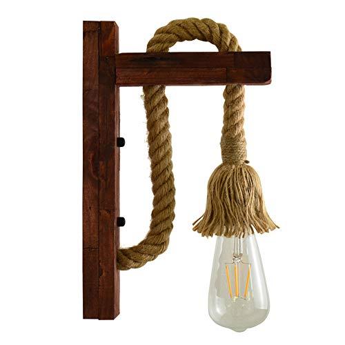 GQNLY Luz de Pared de país Vintage, Aplique de Pared Droplight Lámpara de Pared de Madera sólida Creativa con Cuerda de cáñamo E27 Tejida a Mano para Barra de Cocina Decoración de Estudio,Red