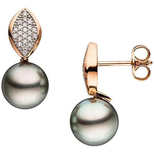 JOBO Damen-Ohrhänger aus 585 Rosegold mit dunklen Tahiti-Perlen und 44 Diamanten