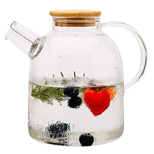 Zoo-Yilchu Tetera, 1.5L Gran Vidrio borosilicato Transparente Resistente al Calor Tetera Grande Claro pote del té de té de la Flor.