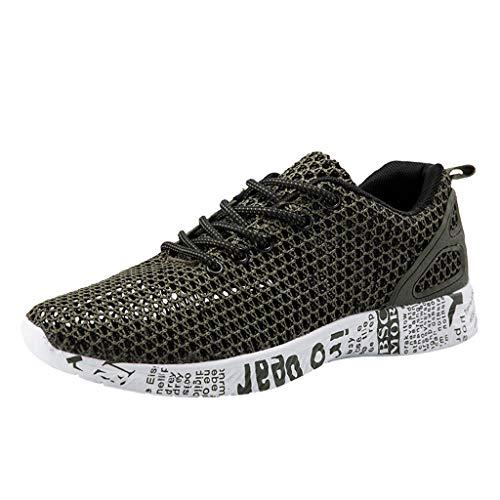 ZHANSANFM Herren Sneaker Mesh Ultraleicht Sportschuhe Slip On Breathable Laufschuhe Stylisch Badeurlaub Strandschuhe Lace up Leichte Outdoor Freizeitschuhe Gr.39-46(39Grün)