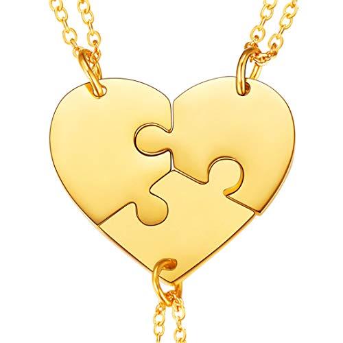 U7 3er Puzzle-Teile Anhänger Halskette 18k vergoldet Herz Partnerschaftsketten Freundinnen Familien Schwestern