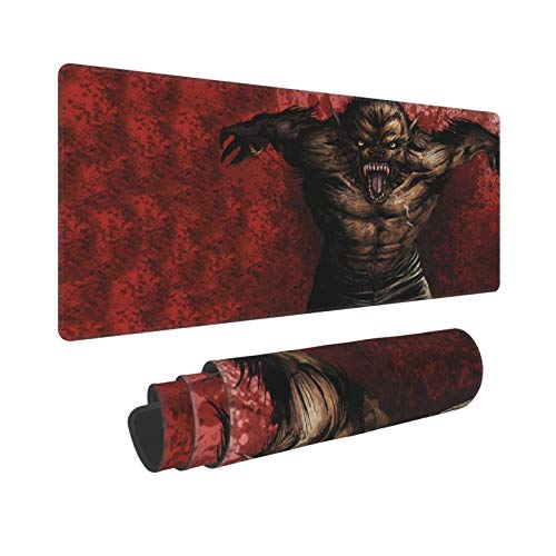 KENADVI Large Gaming Mouse Pad,Werewolf Wolf Aggression Fangs Blood,Non-Slip Rubber Mouse Pads Mousepad for Gaming Computer Office Desk,80×30×0.3cm