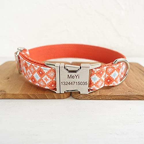 Collar de Perro Naranja Personalizado Hebilla de Metal Grabado Collar de identificación de Seguridad para Mascotas Proteger a los Perros Lost-Engraved_S