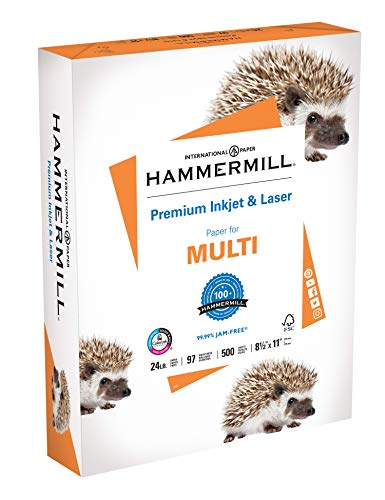 Hammermill Printer Paper, Premium Inkjet & Laser Paper 24 Lb, 8.5 x 11 - 1 Ream (500 Sheets) - 97 Bright, Made in the USA, 166140R