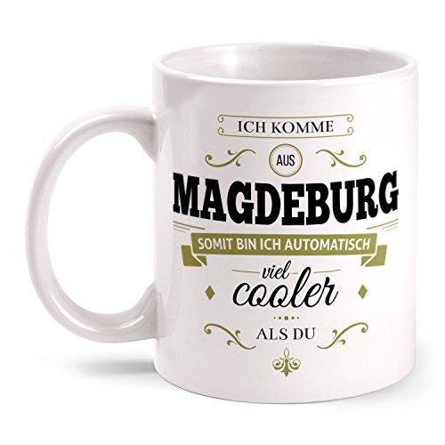 Fashionalarm Tasse Ich komme aus Magdeburg - beidseitig bedruckt mit coolem Spruch | Geschenk Idee für Magdeburger Männer & Frauen, Farbe:weiß