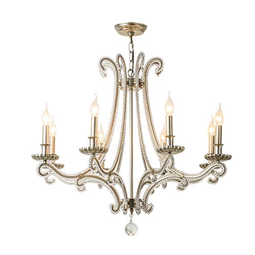 SHIJING Nordic Home Decoration kristal kroonluchter verlichting Europese stijl antiek geborsteld zilver bomen 8 lichten