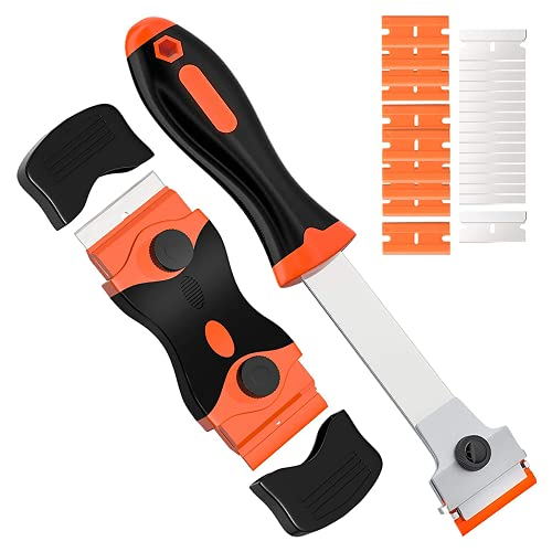 Glass Scraper, 2 Pcs Double Edged Hob Window Scraper with 15 Metal Blades and 10 Plastic Blades, Scraper Blades for Removing Ceramic/Window Label, Paint, Caulking, Clean Kitchen Stoves