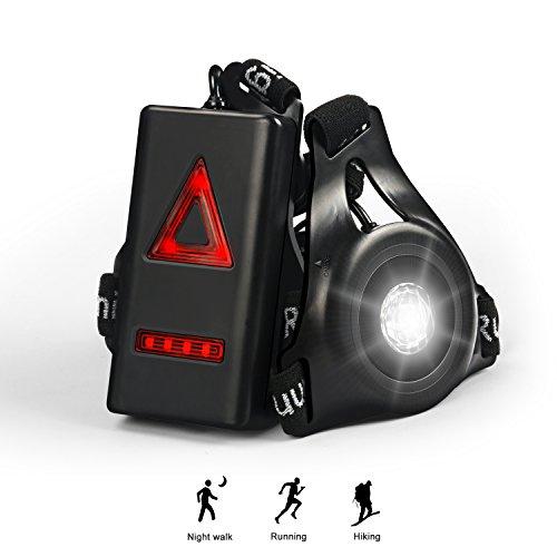 WAITIEE Lampe de Poitrine, 250lm USB Rechargeable LED Eclairage de Poitrine pour Course, éclairage de Sécurité Extérieur étanche pour Les Coureurs Course à Pied Jogging Safety (Black)