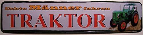 Señal de metal para calle con texto en inglés 'Real Men Ride Tractor' (10 x 40 cm)