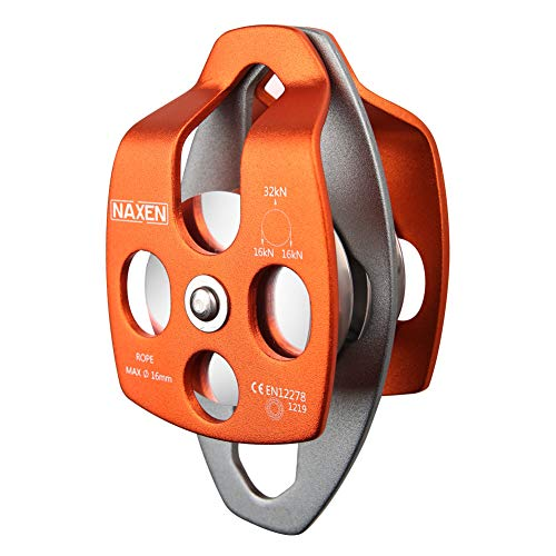 NAXEN 32kN Pulley Double Sheave CE Certified for Climbing Mountaineering Caving Rescue Orange