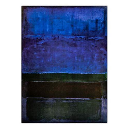 ZMCW Kunstdruck Auf Leinwand,Mark Rothko Abstrakte Retro Geometrische Farbe Schwarz Blau Grün, Große Größe Gedruckt Tapisserie, Für Home Schlafzimmer Schlafzimmer Dekoration Verwendet Werden, Raumte