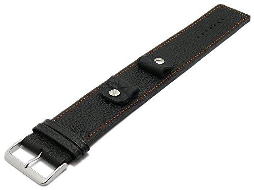 Meyhofer Uhrband Kassel 14-16-18-20mm schwarz Leder genarbt orangefarbene Naht Unterlagenband MyFcslb355/14-20mm/schwarz/orN