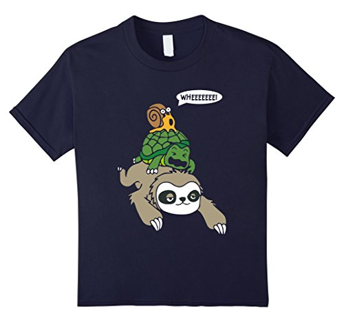 Kids Sloth, Turtle and Snail Piggyback Funny Running Wild T-Shirt 12 Navy