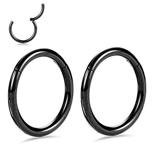 G23 Titanium Nose Rings for Men Septum Clicker 16g Lip Rings Black Plated Labret Jewelry 16 Gauge Conch Earrings Hoop 14mm Cartilage Earring Hoop Helix Lobe Piercing Hoop Earrings For Women