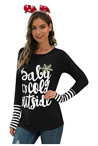 Tee Shirt Noel Manche Longue Femme Pull 2 en 1 Patchwork Chemise Bicolore Haut a Rayure Blouse Col Rond Tunique Automne Hiver Sweatshirt Ado Fille Hip Hop Jumper Pullover Moda Christmas Top Streetwear