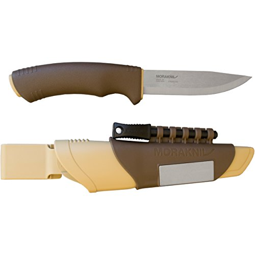 Morakniv Bushcraft Stainless Steel 4.3-Inch Fixed-Blade Survival Knife with Fire Starter and Sharpener, Desert Tan