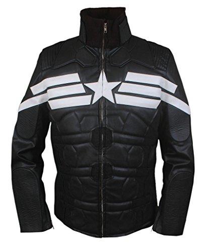 Flesh & Hide F&H Men's Captain America Winter Soldier Genuine Leather Jacket 2XL Black