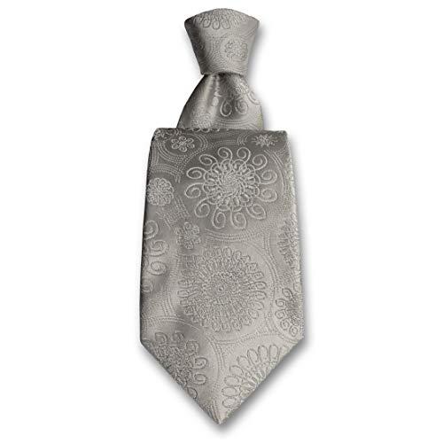 Robert Charles. Cravate. Astoria, Soie. Gris, Paisley. Fabriqué en Italie.