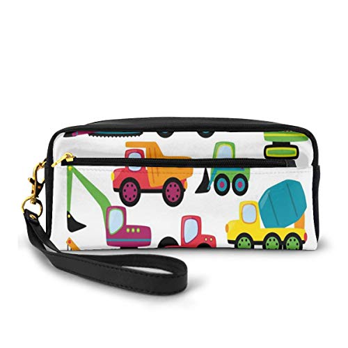 Pencil Case Pen Bag Pouch Stationary,Cute Style Vehicles Heavy Equipment Forklift Earthmover Excavator Mixer,Small Makeup Bag Coin Purse