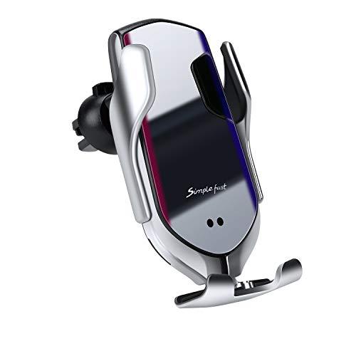 Hinyx Cargador Inalámbrico Coche,Qi Cargador Rápido Soporte Móvil ventilación de aire del automóvil abrazadera automática para iPhone SE/11/XS/X/8P,Samsung Galaxy S20,Todos los teléfonos inteligentes