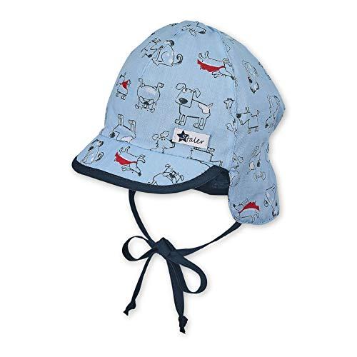 Sterntaler Jungen Schirmmütze Bindebändern, Nackenschutz und Hunde-Motiven Mütze, Blau (Himmel 325), (Herstellergröße: 51)
