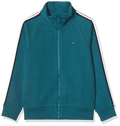 Tommy Hilfiger Jungen Stripe Interlock Zip Sweatshirt Kapuzenpullover, Blau (Blue Ca4), 140 (Herstellergröße:10)
