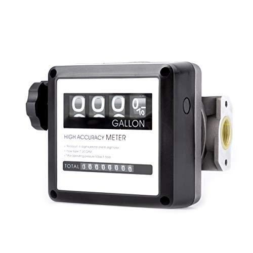 "TUNTROL 1"" Aluminum Mechanical Fuel Flow Meter 7-20 GPM for All Fuel Transfer Pumps,4-Digital Batch Display"