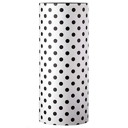 Rebecca Mobili Paragüero Negro Blanco, Soporte de Paraguas Modernos, Lunares MDF, con Plato para Recoger el Agua, para ingrezzo - Medidas: 54 x 23 x 23 cm (AxANxF) - Art. RE6277