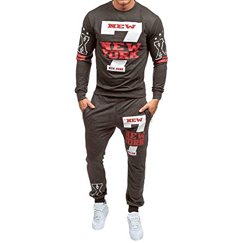 MRULIC Herren 2 Stück Sportswear Tops und Hosen Trainingsanzug Sports Suit Fitness RH-028(Dunkelgrau,EU-46/CN-L)