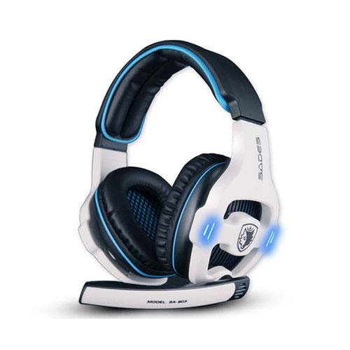 Computer Headset Gaming Headset 7.1 Surround Sound Channel USB Wired Headphone with Mic Volume Control Best Casque for Gamer Gaming Headset (Color : White No Retail Box)