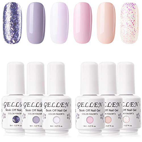 Gellen Gel Nail Polish Kit - Soft Pink Lavenders, Popular Rose Purple Glitters Nail Art Design Colors Home Gel Manicure Set (6 bottles 0.27fl oz)