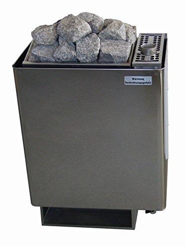 Saunaofen 10,5 kW Wandmodell W-therm Typ WV45 (9,0 kW) mit Verdampfer (1,5 kW) Lang-Design