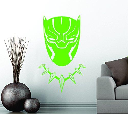 Black Panther Wakanda King Tête Masque Superhero enfants Cadeau Décor Art Sticker mural en vinyle de décoration de voiture autocollant - Small 30 cm x 18 cm - vert citron