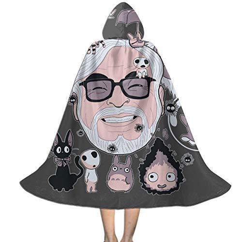 KUKHKU Hayao Miyazaki Tribute Studio Ghibli Mantello con Cappuccio Unisex per Bambini, Decorazione per Feste di Halloween e Cosplay