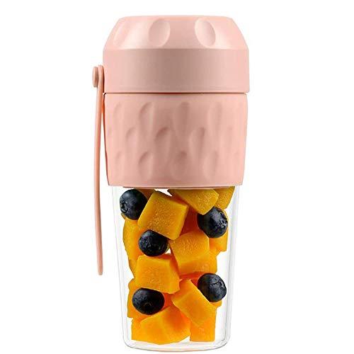 Exprimidor, vaso de vidrio de borosilicato, licuadora recargable USB, licuadora de frutas portátil, utilizada para la oficina de viajes de deportes al aire libre-Rosado