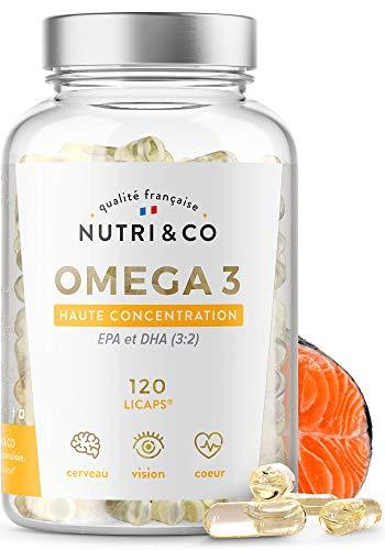 Omega-3 Huile de Poissons Sauvages 1500mg | Fish Oil 120 Gélules Concentrées Pures | EPA DHA Vitamine E | Capsules Licaps Haute Fraîcheur Odeur Douce | Pêche Durable | Fabriqué en France | Nutri&Co