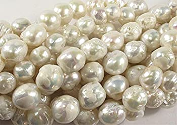 BD-02571 DIY Beads Natural White 11-12mm Baroque Flameball Freshwater Pearls Loose Beads 15  -   Type  White/ Item Dia  12mm