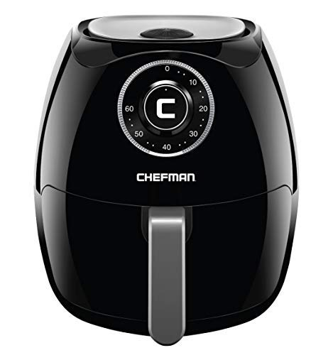 Chefman 6.8 Quart Air Fryer Oven with Space Saving Flat Basket, Oil Free Hot Airfryer with 60 Minute Timer & Auto Shut Off, Dishwasher Safe Parts, BPA-Free, Family Size, X-Large, Black