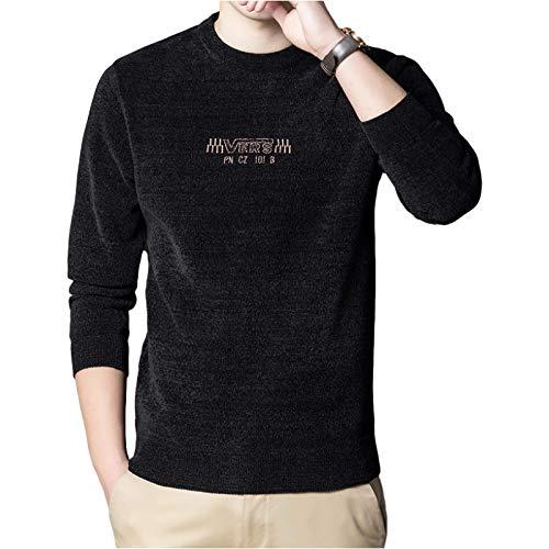 Suéter para Hombre Pullover Cuello Redondo Plus Terciopelo Engrosado Cálido Impresión de Letras personales Suave y cómoda Sudadera Tops XX-Large