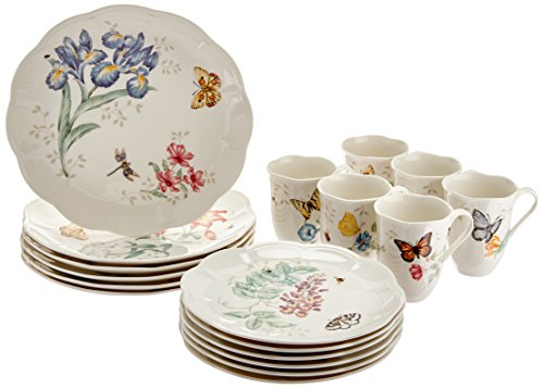 Lenox Butterfly Meadow 18-Piece Dinnerware Set, Service for 6, White - 6342794