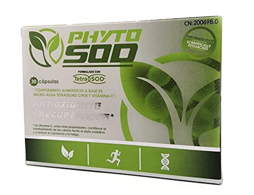 PhytoSOD – Complemento Alimenticio Marino, 30 capsulas, con Vitamina C Antioxidante y Recuperador Formulado con TetraSOD SuperAlimento 100% Vegano