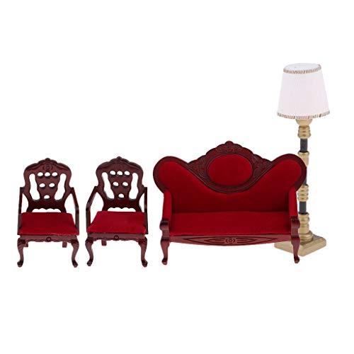 perfeclan Vintage 1/12 Sofá de Madera Silla Sofá de Terciopelo Y Lámpara de Pie para Casa de Muñecas Sala de Estar, Dormitorio, Accesorios de Jardín Adornos